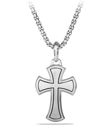 Men's 27mm Black Diamond & Sterling Silver Knife-Edge Cross Amulet