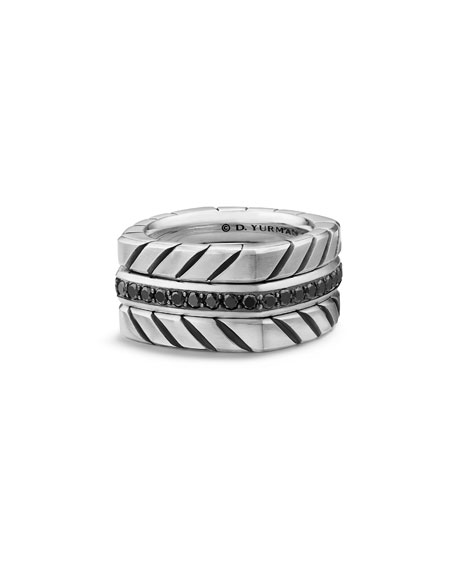 David Yurman Men's 12.8mm Sterling Silver Chevron Stack
