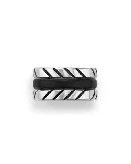 Men's Titanium & Onyx Stack Ring, Black