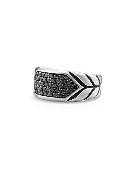 Men's Sterling Silver Chevron Signet Ring with Black Diamonds