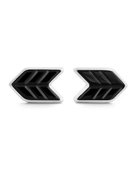 Sterling Silver & Onyx Chevron Cuff Links