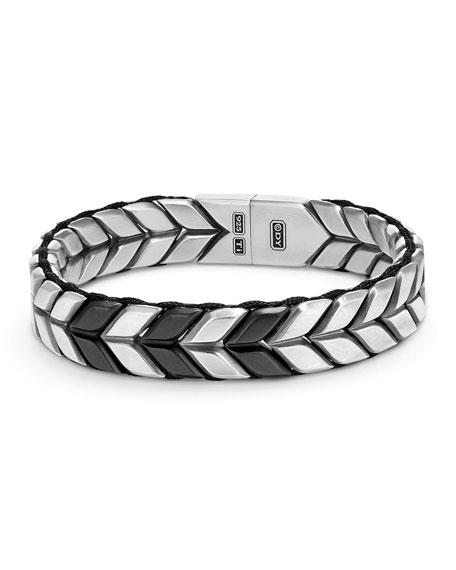 Men's Sterling Silver & Titanium Chevron Bracelet