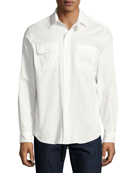 Ralph Lauren Basketweave Cotton Shirt, White