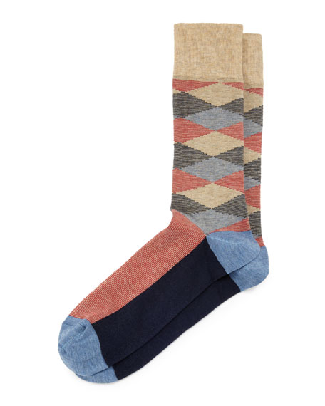 Diamond Millerighe Crew Socks