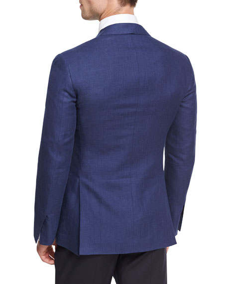 Herringbone Linen-Wool Sport Coat, Blue
