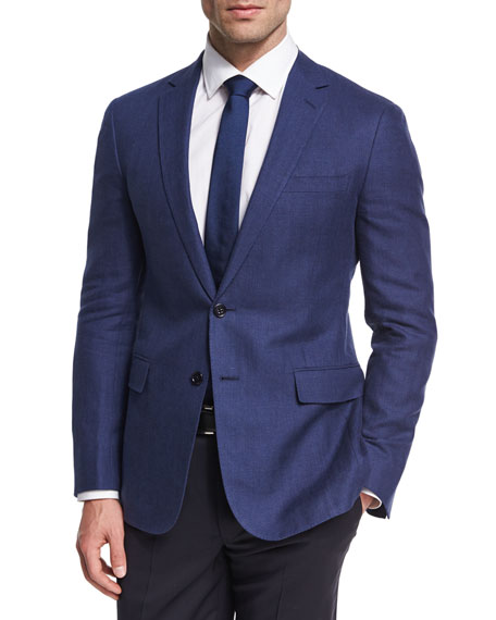 Ralph Lauren Herringbone Linen-Wool Sport Coat, Blue