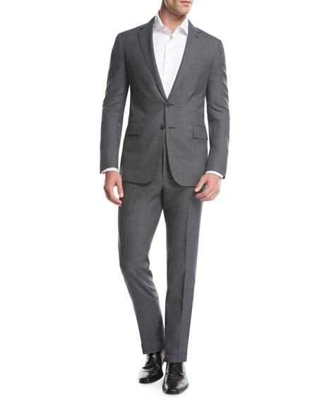 Ralph Lauren Fresco Wool Two-Piece Suit, Gray