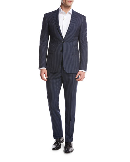 Ralph Lauren Striped Wool Two-Piece Suit, Bright Navy