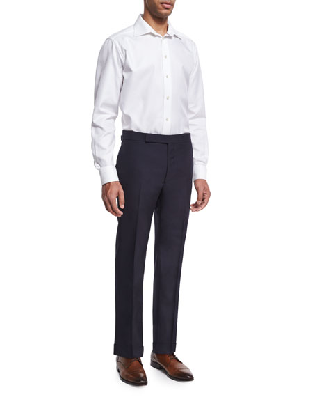 Slim-Fit Fresco Wool Trousers, Navy