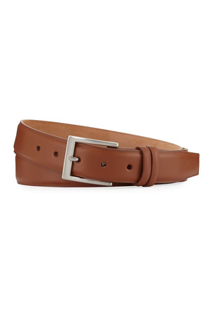 W. Kleinberg Basic Leather Belt with Interchangeable Buckles, Brown