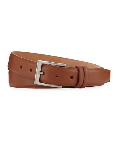Basic Leather Belt with Interchangeable Buckles, Brown