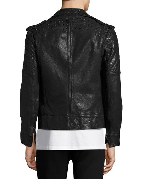 Studded Leather Biker Jacket, Black