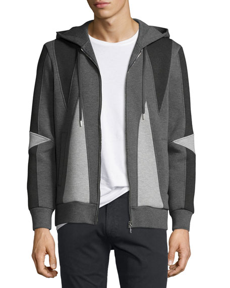 Neil Barrett Paneled Zip-Front Hoodie, Black/Gray