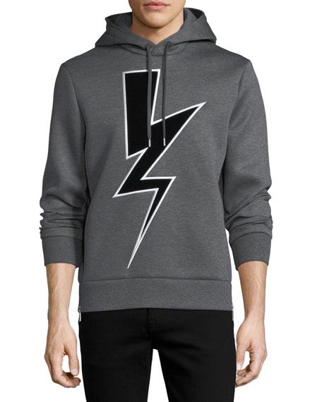 Neil Barrett Velvet Lightning Bolt Neoprene Hoodie
