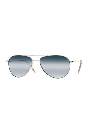Oliver Peoples Benedict 59 Aviator Sunglasses