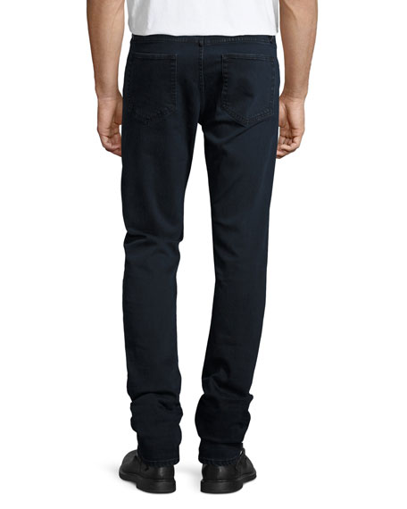 Straight-Fit Clean Wash Stretch Jeans, Dark Indigo