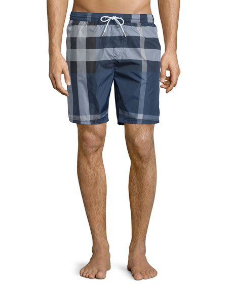 Burberry Check Swim Trunks, Ink