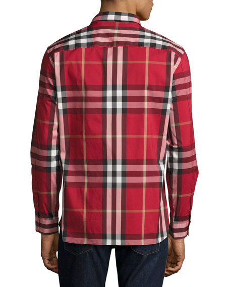 Nelson Check Stretch-Cotton Shirt, Parade Red