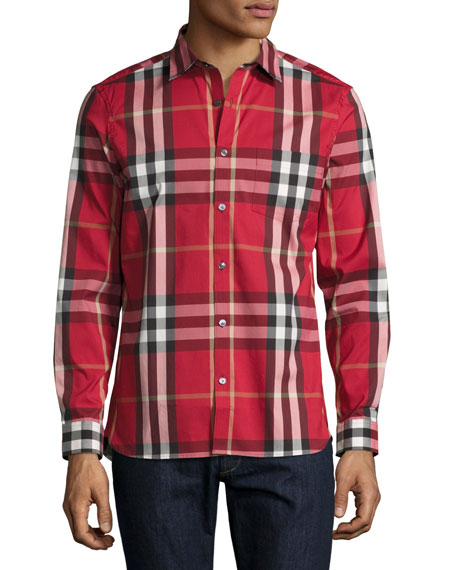 Burberry Nelson Check Stretch-Cotton Shirt, Parade Red