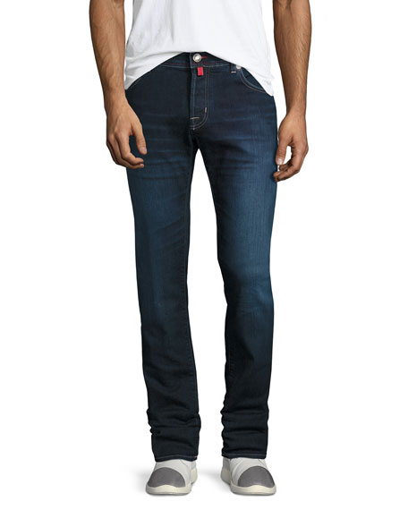 Jacob Cohen Dark-Wash Straight-Leg Stretch-Denim Jeans with Red