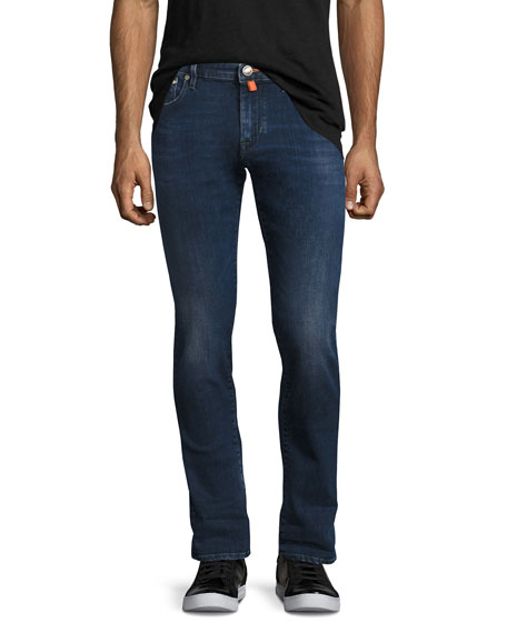Jacob Cohen Dark-Wash Slim-Straight Jeans with Orange Stitching,