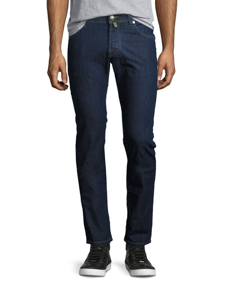 Jacob Cohen Dark-Wash Slim-Straight Jeans with Green Stitching,