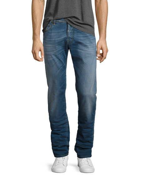 Jacob Cohen Medium-Wash Straight-Leg Jeans with Camouflage