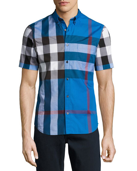 Burberry Fred Check Short-Sleeve Woven Shirt, Blue