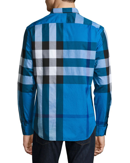 Fred Exploded Check Button-Down Shirt, Blue