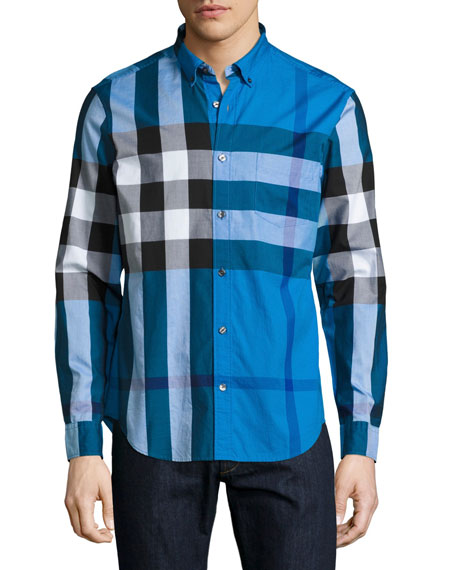 Burberry Fred Exploded Check Button-Down Shirt, Blue