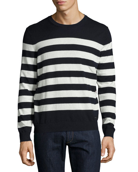 Burberry Seaborne Striped Cashmere-Cotton Sweater, Navy
