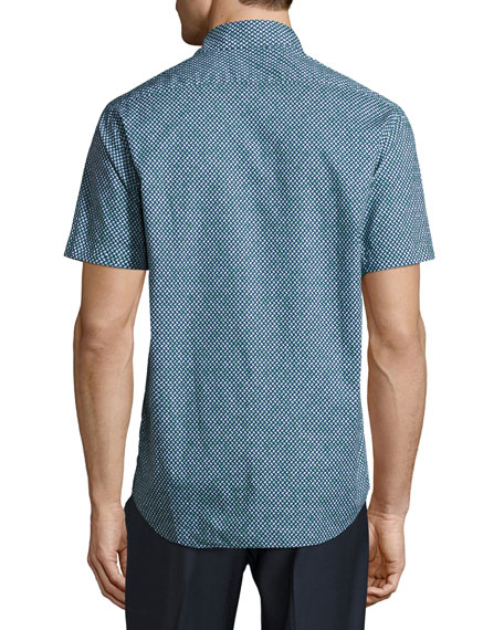 Geo-Print Short-Sleeve Sport Shirt, Green/Navy
