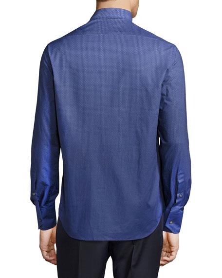 Geo-Print Dégradé Sport Shirt, Blue/Navy