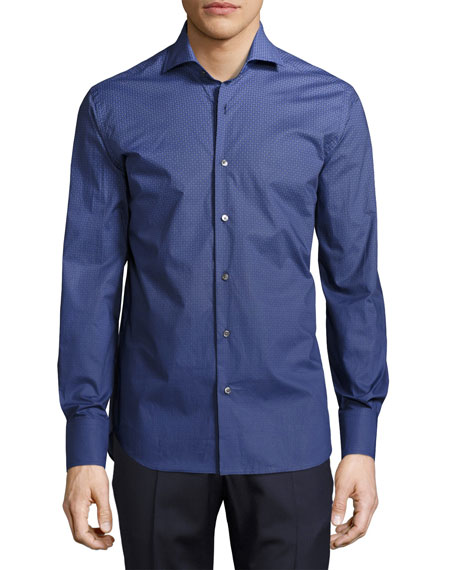 Neiman Marcus Geo-Print Dégradé Sport Shirt, Blue/Navy