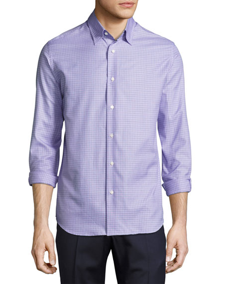 Neiman Marcus Tight-Circle Sport Shirt, Lilac/Purple