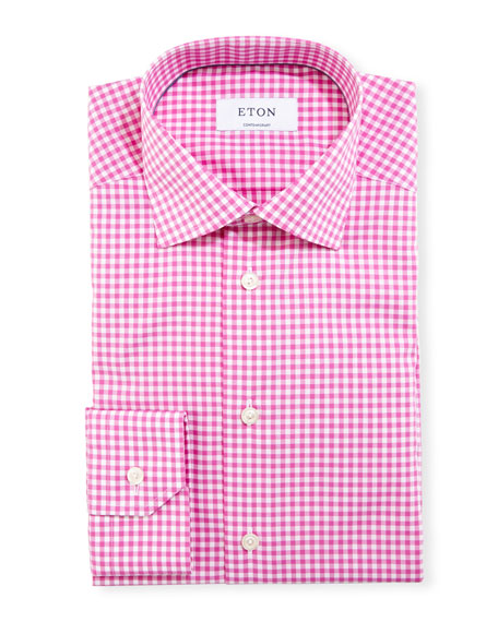 Eton Contemporary-Fit Gingham Dress Shirt, Raspberry/White