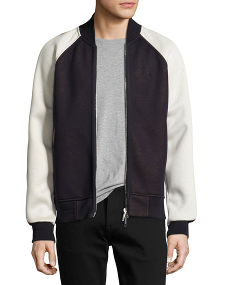 Arlow Paneled Jersey Bomber Jacket, Navy