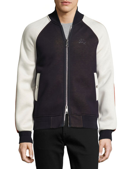 Burberry Arlow Paneled Jersey Bomber Jacket, Navy