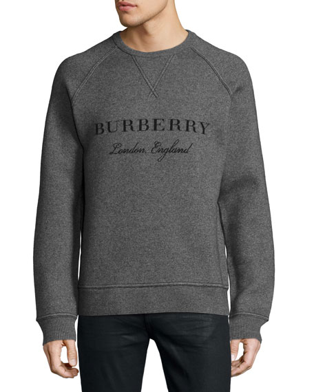 Burberry Belsford Wool-Cashmere Logo Sweatshirt, Gray