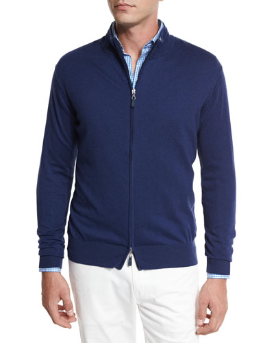 Crown Soft Full-Zip Sweater, Navy