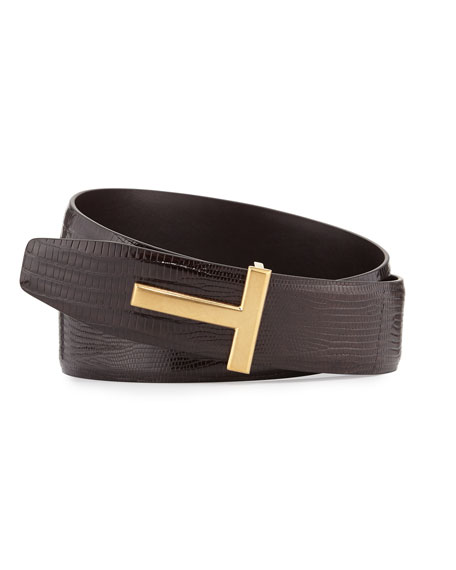 TOM FORD Lizard T-Buckle Belt, Brown
