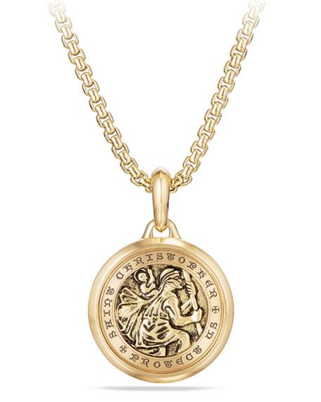 David yurman mens 265mm 18k gold st christopher amulet neiman mens 265mm 18k gold st christopher amulet mozeypictures Gallery