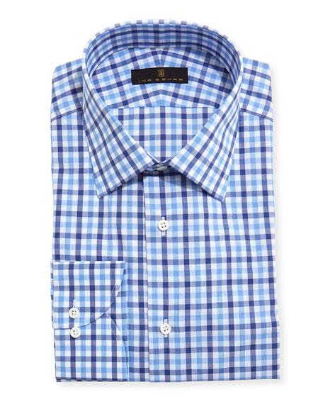 Ike Behar Gold Label Tattersall Dress Shirt, Blue/Navy