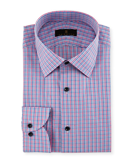 Ike Behar Gold Label Micro-Check Cotton Dress Shirt,