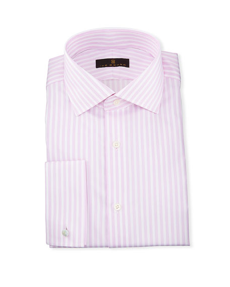Ike Behar Gold Label Dobby-Stripe Cotton Dress Shirt