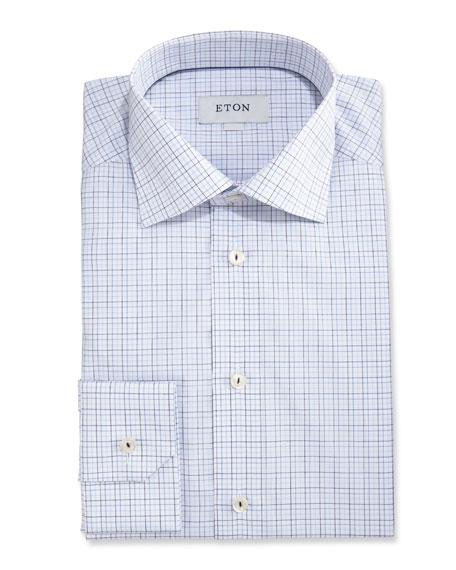 Eton Slim-Fit Grid Check Dress Shirt, White/Navy Blue