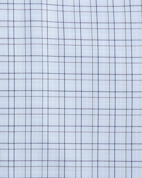 Contemporary-Fit Grid Check Dress Shirt, Light Blue/Navy