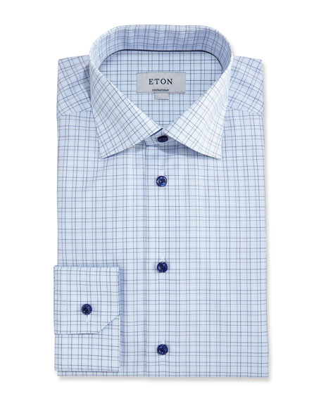 Eton Contemporary-Fit Grid Check Dress Shirt, Light Blue/Navy
