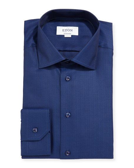 Eton Contemporary-Fit Herringbone Dress Shirt, Navy