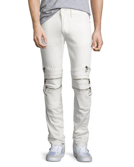 God's Masterful Children Chain Biker Skinny Jeans, White